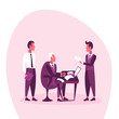 businessman sitting workplace business interview concept boss employee working report paper document reading contract brainstorming flat vector illustration