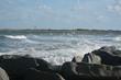 Vilano Beach Inlet, Florida. Waves, rocks and spray