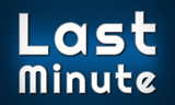 Last Minute - clear white text written on blue background - 225775399