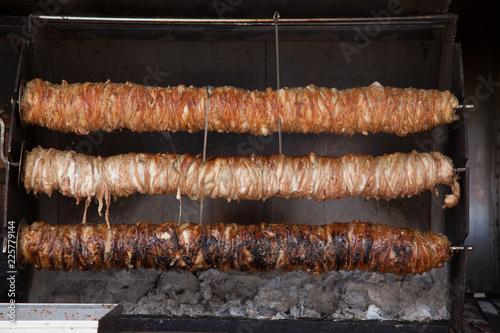 Kokorec, famous Turkish street food made from bowels