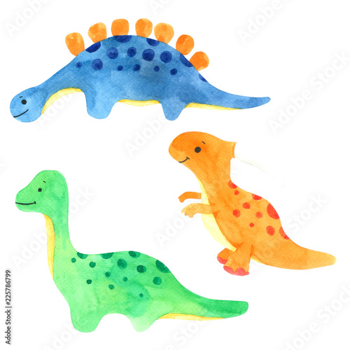 Dinosaur watercolor cartoon set. Cute dinosaur isolated on white background © Wannapa