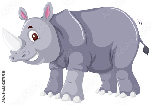 Poster A rhinoceros character on white background