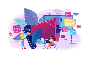 Marketing team work and huge megaphone with media icons. Marketing and branding, billboard and ad, marketing strategies concept on white background. Bright vibrant violet vector isolated illustration