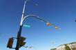 Whitehorse,Canada-September 10, 2018: Traffic light at Black street in Whitehorse on blue sky background