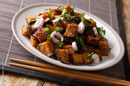 Leinwanddruck Bild Sichuan Style Braised Eggplant With ginger, garlic, pepper and suy sauce closeup on a plate. Horizontal
