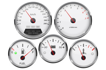 Car dashboard 3d gauges. Speedometer, tachometer, fuel gauge, temperature and accumulator charge device