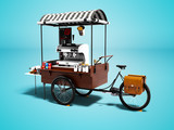 Modern cart with coffee machine 3d render on blue background with shadow - 225809736