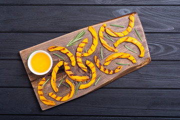 Grilled pumpkin with rosemary and honey