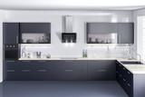 Dark kitchen furniture, kithen, modern food room, beatyful design 3d rendering  - 225815750