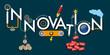 Concept de l'innovation avec une machine qui exprime le processus de création de l'idée à la réalisation en passant par le financement.