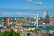 Leinwanddruck Bild - View of Rotterdam city and the Erasmus bridge