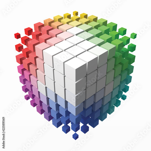 color theory cube with small cubes on corners. 3d style vector illustration.