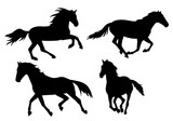 silhouette horse running, on white background, icon, black, set - 225824386