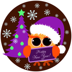Cute orange owl with santa cap and christmas tree holding nameplate