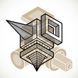 3d abstract isometric construction, vector polygonal shape. - 225831790