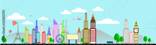 Travel business with plane Eiffel tower Vector Illustration - 225832787