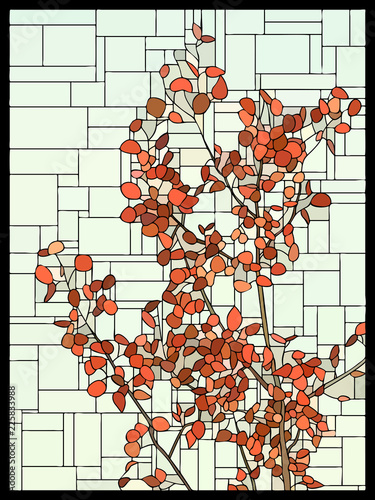 vector-stained-glass-window-with-red-leaves-of-a-tree