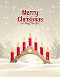 Traditional Christmas wooden candlestick with red candles
