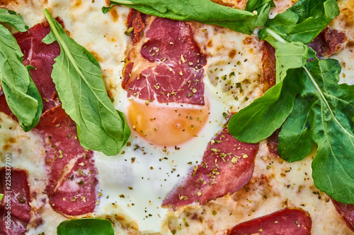 Pizza Detail with Bacon and Egg - 225837700