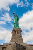 The Statue of Liberty on Liberty Island in New York Harbor, USA. It was designed by French sculptor Frédéric Auguste Bartholdi and built by Gustave Eiffel.