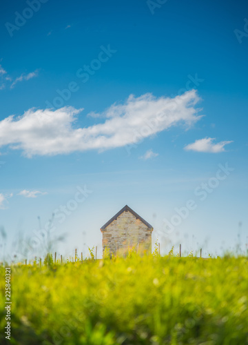 A brick cottage among an evening meadow