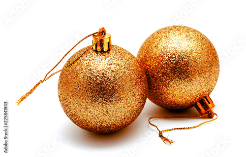 Foto Murales Christmas decoration golden gold yellow balls  isolated on a white