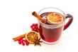 Leinwanddruck Bild - Hot red mulled wine isolated on white background with christmas spices, orange slice, anise and cinnamon sticks