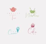 Food sign cake, ice cream, tea, noodles color - 225852762
