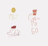 Food sign honey bee, steak, coffee - 225852925