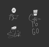 Food sign honey bee, steak, coffee chalk - 225852982