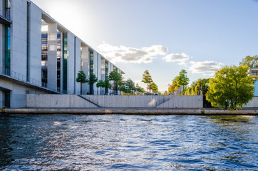 berlin modern architecture with river