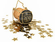 Leinwanddruck Bild - champagne cork and confetti of golden stars isolated on white