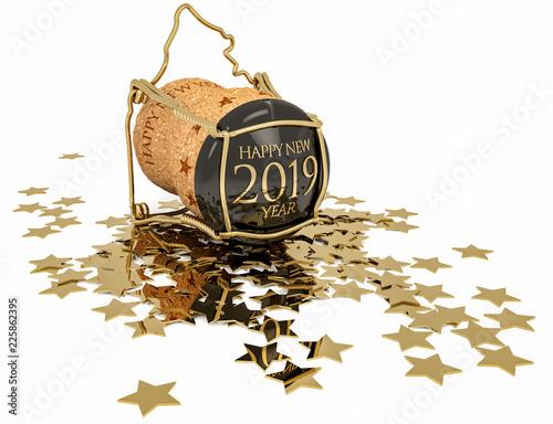 Leinwandbild Motiv champagne cork and confetti of golden stars isolated on white