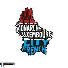 Typography map silhouette of Luxembourg in black and flag colors.