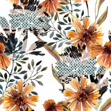 Autumn background. Abstract floral seamless pattern - 225870513