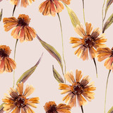 Watercolor chamomile flowers, leaves background. - 225870523