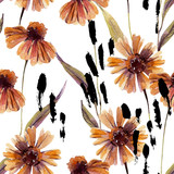 Watercolor chamomile flowers, leaves background. - 225870540