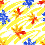 Rough grunge brushstrokes and watercolor maple leaves seamless pattern. - 225870562