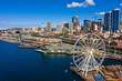 Leinwandbild Motiv Aerial image of the Seattle Great Wheel