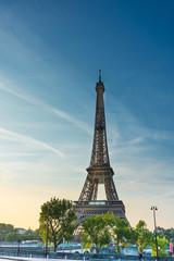 PARIS, FRANCE - August 19 ,2018: Eiffel Tower, nickname La dame de fer, the iron lady, The tower has become the most prominent symbol of Paris. Paris, France