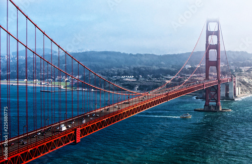 The Golden Gate Bridge as seen from Marine Headlands, San Francisco, California, USA - 225880775
