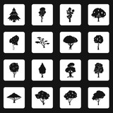 Trees icons set in white squares on black background simple style vector illustration