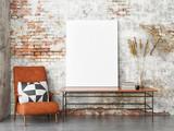 Mock up poster hipster interior background, 3d render, 3d illustration