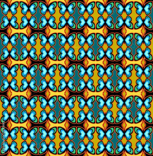 motif papillon, papier peint, texture, abstrait, textile, homogène, art, décoration, tissu, rétro, millésime, vert, bleu,  - 225909907