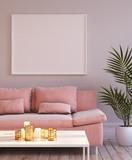 Mock up frame in living room interior, 3d render - 225911177