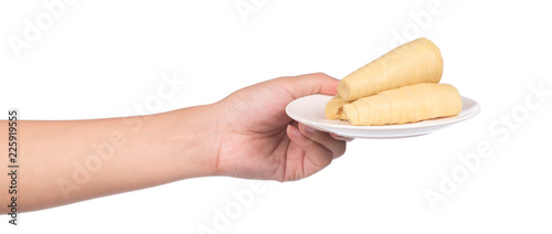 hand holding boiled bamboo shoots on plate isolated on white background
