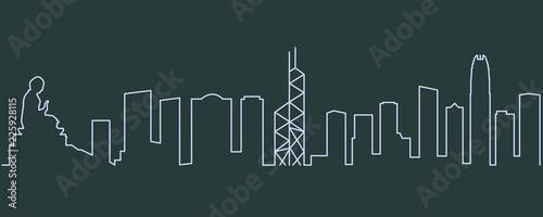 obraz lub plakat Hong Kong Single Line Skyline