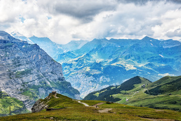 Swiss Scenic View from Alpine Mountain Top