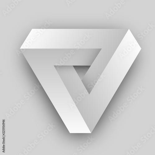 White penrose triangle. Geometric 3D object optical illusion. Vector illustration. - 225936946