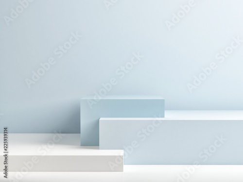 Podium in abstract blue composition, 3d render, 3d illustration © nikolarakic